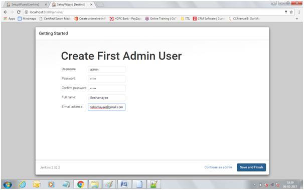 Create First Admin User on Jenkins